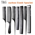 Professional Tail Comb, 7 pcs Hair Carbon Comb Antistatic Hair Comb In Black Color, Heat resistant Haircut Comb T&G-08 For Salon