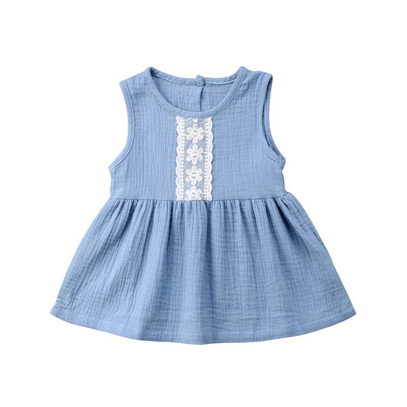 Toddler Baby Kids Girl Princess Casual Dress Sundress Cotton linen Clothes