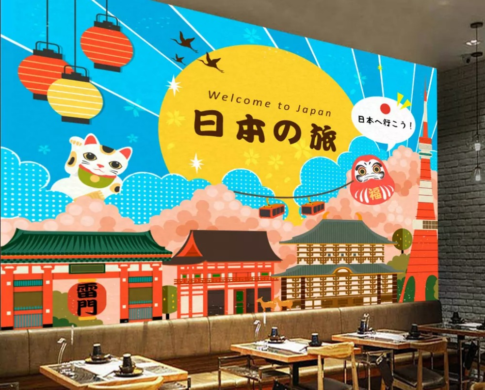 Free shipping custom wallpapers Hand-painted Japanese Lucky Cat Ukiyo-e Cooking Tooling Wall children room wallpaper