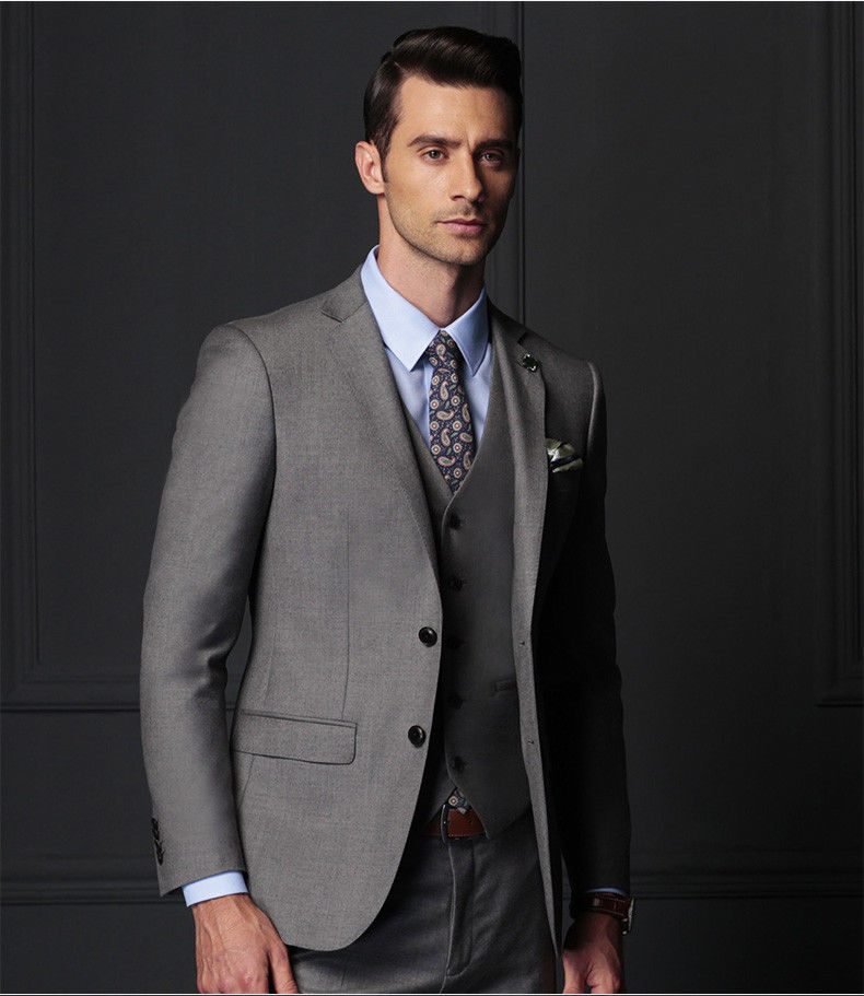 Fashion Mens Dark Grey Suit Groom Tuxedo Wedding Party Business Prom Suits  Custom Made