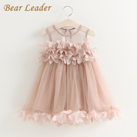 Bear Leader Girls Dress 2017 New Summer Mesh Girls Clothes Pink Applique Princess Dress Children Summer