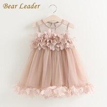 Bear Leader Girls Dress 2017 New Summer Mesh Girls Clothes Pink Applique Princess Dress Children Summer Clothes Baby Girls Dress