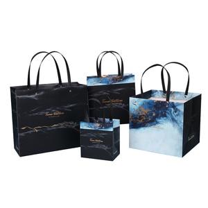 Image 4 - Sac cadeau marbré exquis en papier, sac cadeau daffaires Simple, sac pour les courses en papier, articles demballage, 1 unité