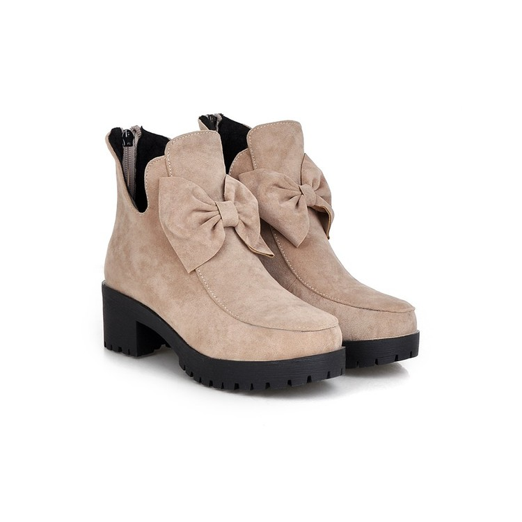 ФОТО Winter Boots Botas Mujer Plus Size 34-42 Fashion Ankle Boots Vintage Brand Middle Heel Spring Shoes Autumn For Women Snow 2086