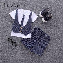 Hurave 2017 Summer Baby Boys  Sets Male Infant Wear Cotton Suits Gentleman Style Stripe Vest T Shirt+Shorts Kids Children Suits