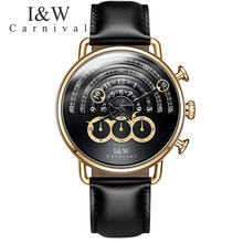 Carnival Watch Men Quartz Big Dial Waterproof Gild Stainless Steel Black Dial  Leather Stop watch Watches
