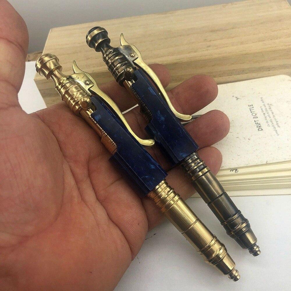 Handmade Brass Ballpoint Pen Black Wooden Creative Retro Bolt Type Tactical Pen