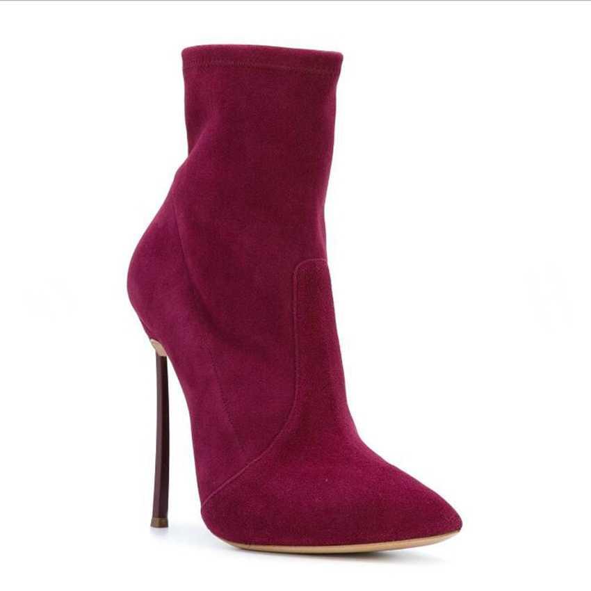 Untuk Wanita Kain Peregangan Suede Semata Kaki untuk Wanita Menunjuk Toe Sepatu Hak Tinggi Wanita Musim Dingin Musim Gugur Sepatu Hak Tinggi sepatu Bot