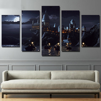 HD Printed 5 Piece Canvas Harry Potter School Castle Hogwarts Painting Room Decor Posters And Prints