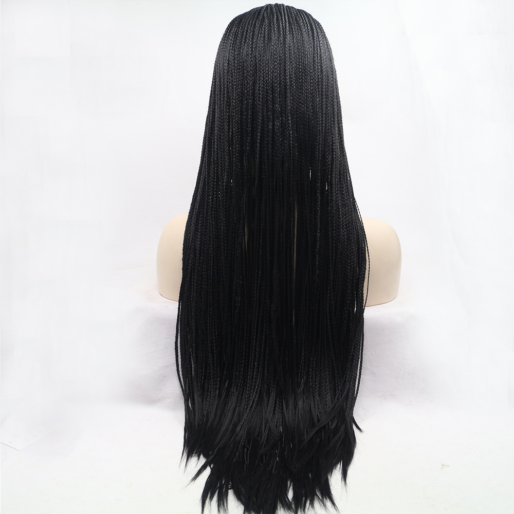 Fantasy Beauty Heat Resistant synthetic Handmade collection long braided lace Front wig for black women 1b