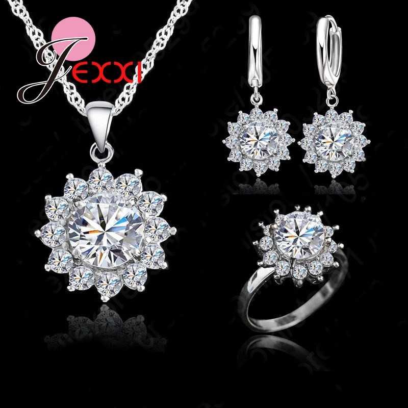 Neue Mode SunFlower Zirkonia Echt 925 Sterling Silber Schmuck Sets Ohrringe Anhänger Halskette Ringe Größe 5-9
