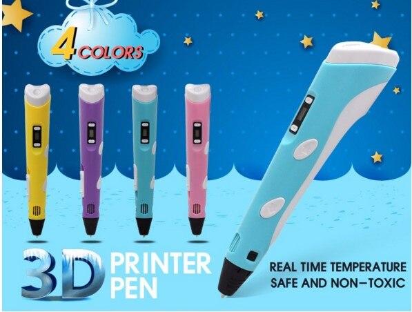 Nuttig Nieuwe Version1.75mm Abs/pla 3d Printing Pen Met Gratis Filament 3d Pen Adapter Creative Gift Voor Kids Printer Pennen Akp020