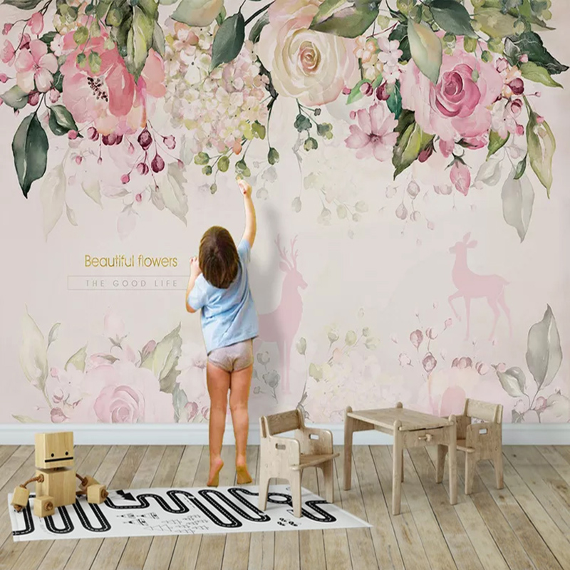 Photo Wallpaper 3D Stereo Pink Flowers Murals Cartoon Kids Girl's Bedroom Background Wall Paper Living Room Modern Simple Decor