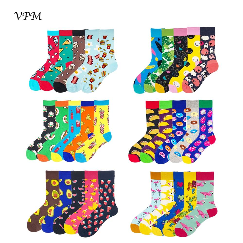 VPM 2018 Men's Socks 85% Cotton Colorful Funny Harajuku Pizza Flamingos Smile Avocado Style Socks Wedding Gift Socks 5 Paris/Lot