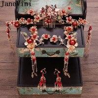 JaneVini Vintage Flower Brides Hair Accessories Set Chinese Wedding Hair Pins Combs Bridal Headdress Costume Party Gold Hairwear