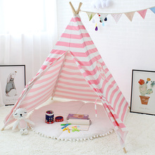 Stripe Play Toy Tent for Children Tipi Kids Wigwam Baby Room Decor Canvas Cotton Game Teepee Indoor Child Playhouse 4 Poles blue grid teepee tent for kids boys tipi tent wigwam playhouse