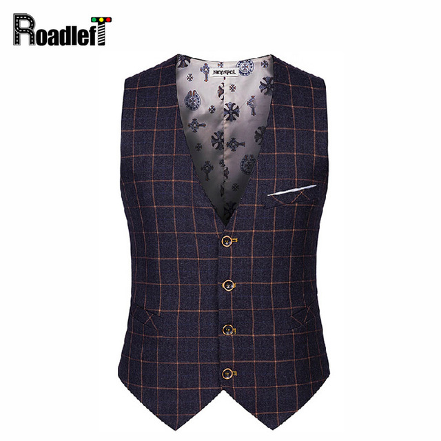 Male cotton plaid slim dress vests Men's casual sleeveless formal business jacket suit vest Men waistcoat coat Gilet Homme yelek