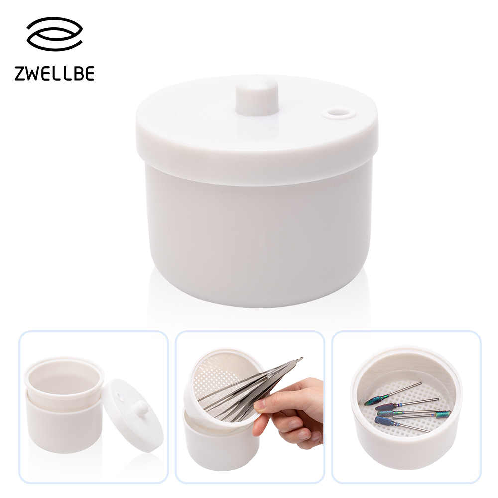 Professional Sterilizer Disinfection Round Box Tray Tweezers Sterilizing Nail Art Nipper Grinding Head Jewelry Cleaning Tool Kit