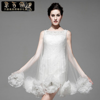 free shipping flowers weddings 2015 new design short mini prom dresses white lace crystal beading formal party evening gown
