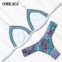 OMKAGI Brand New 2017 Bikinis Women Handmade Crochet Patchwork Bikini Set Swimwear Women Beach Bathing Suits