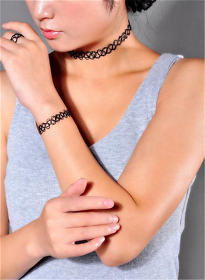 13 colors Hot Selling Vintage Stretch Tattoo Choker Necklace Gothic Punk Grunge Henna Elastic with Choker Necklaces (19)