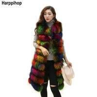 Harppihop * жилет из меха енота для женщин 2017 Зима Новая мода Slims Супер длинная настоящая меховая женская зимняя куртка 2 цвета