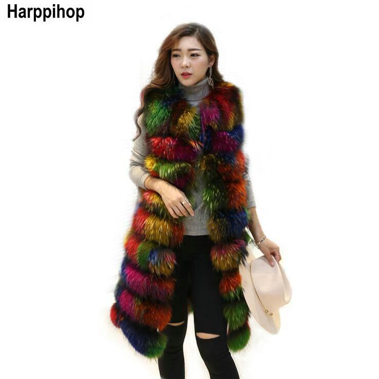 Femmes Slims Super Hiver Long Furry Raton Réel Laveur Nouvelle 2 multi Gilet 2017 Coar D'hiver Couleur Jaune Veste Mode HarppihopFourrure De D29IEH