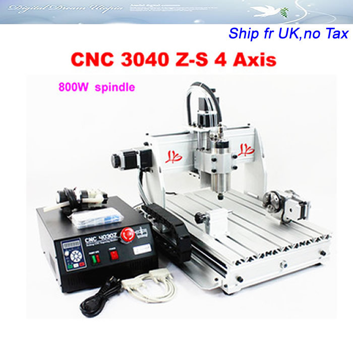 No tax ,free Ship to EU! cnc metal engraving machine CNC 3040 Z-S 4 Axis,800w spindle,water jet cutting machine cnc 3040z s 3 axis mini cnc router with 800w vfd water cooled spindle engraving lathe machine free tax to eu
