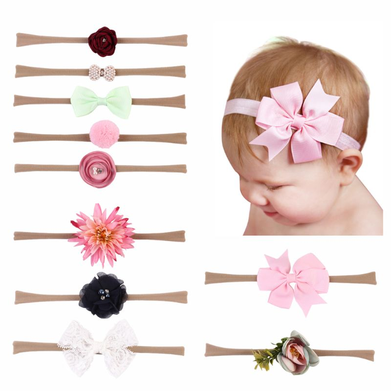 10 Pcs/set Baby Headband Elastic Foral Girls Hair Band Lace Bow Baby Hair Accessories Newborn Photography Props