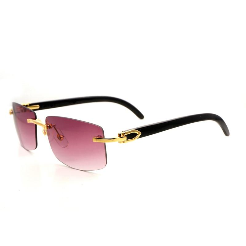 5c0e1405c Natural Chifre de Búfalo Preto Óculos De Sol Dos Homens De Madeira Do  Vintage Óculos Espelho Óculos Sem Aro Limpar Óculos de Armação Oculos Gafas