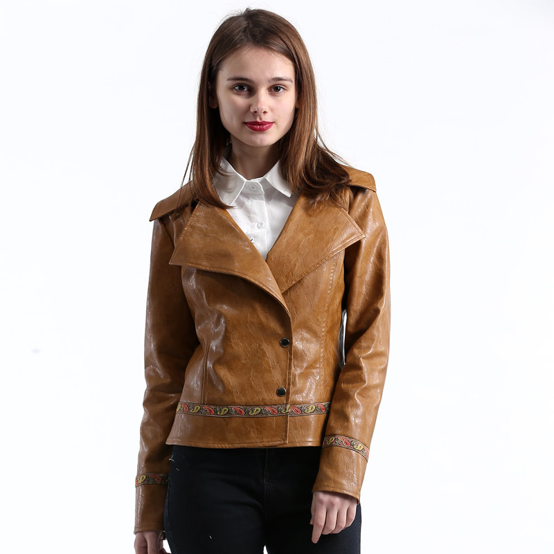 Lusumily 2019 New High Quality Embroidery Spring Cool Punk Style Short   Leather   Jackets Female Casual Short Coat Woman Outwear