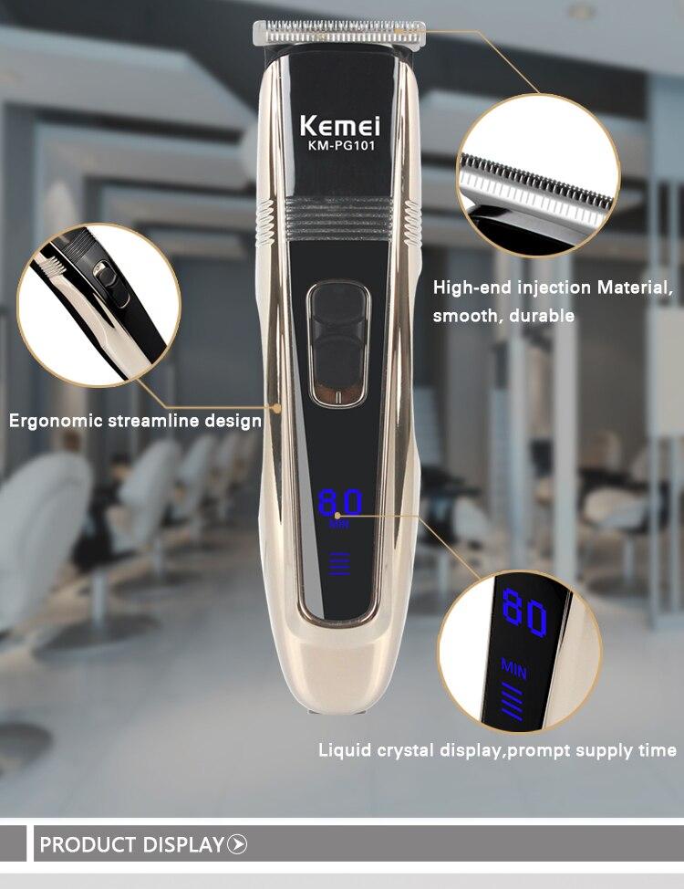 Kemei aparador de cabelo elétrico recarregável clipper