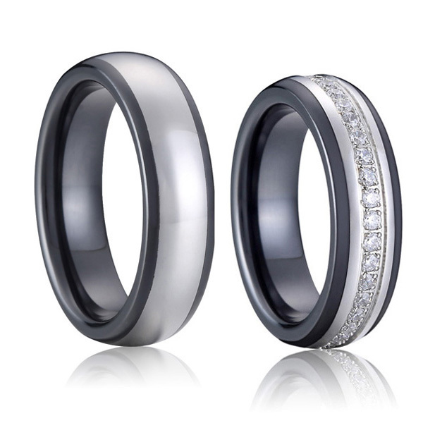 luxury custom tailor handmade titanium inlay black ceramic wedding bands couples promise rings set for men and women alliance one set stylish rhinestone inlay embellished golden rings