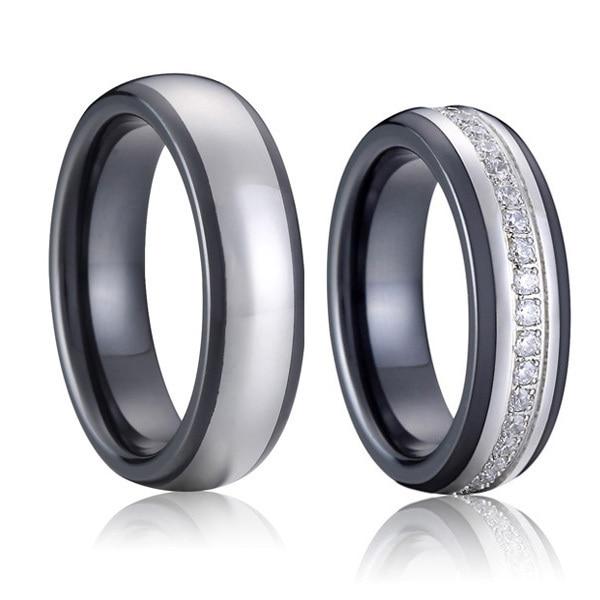 Luxury Custom Tailor Handmade Anium Inlay Black Ceramic Wedding Bands S Promise Rings Set For Men