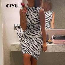 GIYU Summer Women Mock Neck Short Dress Party Mini Dresses Striped Printing Vestido Sexy Sleeveless High Waist robe femme giyu summer flower printing women long chiffon dress holiday bohemia dresses long sleeve vestido sexy high waist robe femme