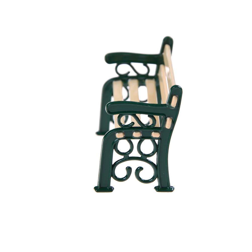 NEW 1:12 Wooden Bench Black Metal Dolls House Miniature Garden Furniture Acces