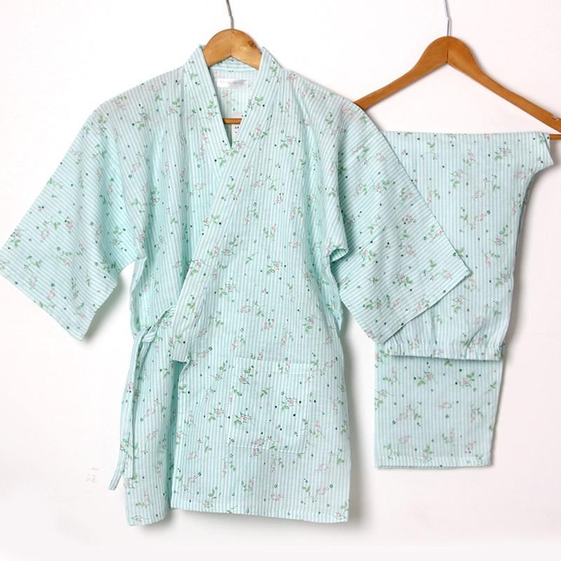 Floral Yukata Japonais Kimono Femmes de Coton Pyjamas Kimono Traditionnel Robe et Pantalon Vêtements de Nuit Confortable Home Wear