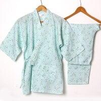 Floral Yukata Japanese Kimono Women's Cotton Pajamas Traditional Kimono Robe and Pants Sleepwear Comfortable Home Wear