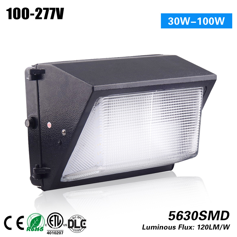 Free Shipping 5 years warranty led wallpack light 100-277VAC to replace 100W CE ROHS ETL DLC p10 real estate project hd clear led message board 2 years warranty