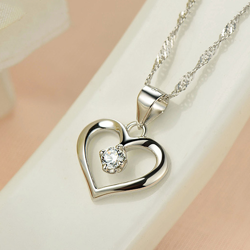 Elegant 925 Sterling Silver Cubic Zirconia CZ Hollow Heart Pendant Necklace Colllar Women Wedding Anniversary Jewelry in Necklaces from Jewelry Accessories