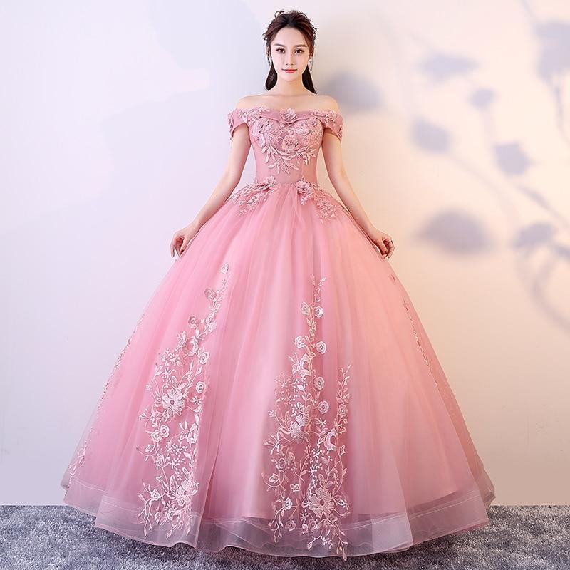 Robe De bal bateau cou broderie Vestidos De Gala hors De l'épaule femmes fête robes De nuit 2019 dentelle sans manches robes De bal E713