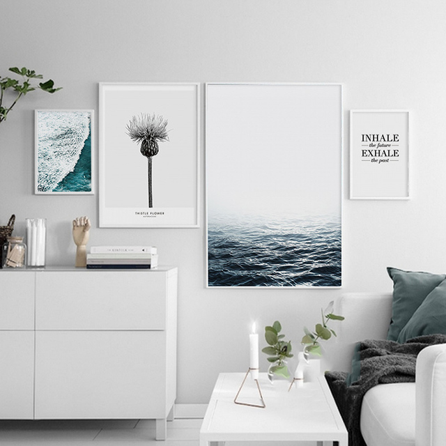 Posters And Prints Blue Sea Picture Canvas Art Wall Painting Pictures For Living