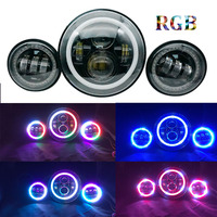 7'' 40W High Low beam led headlights RGB Halo with Bluetooth Remote with 4.5 inch passing light LED fog lamp for harley