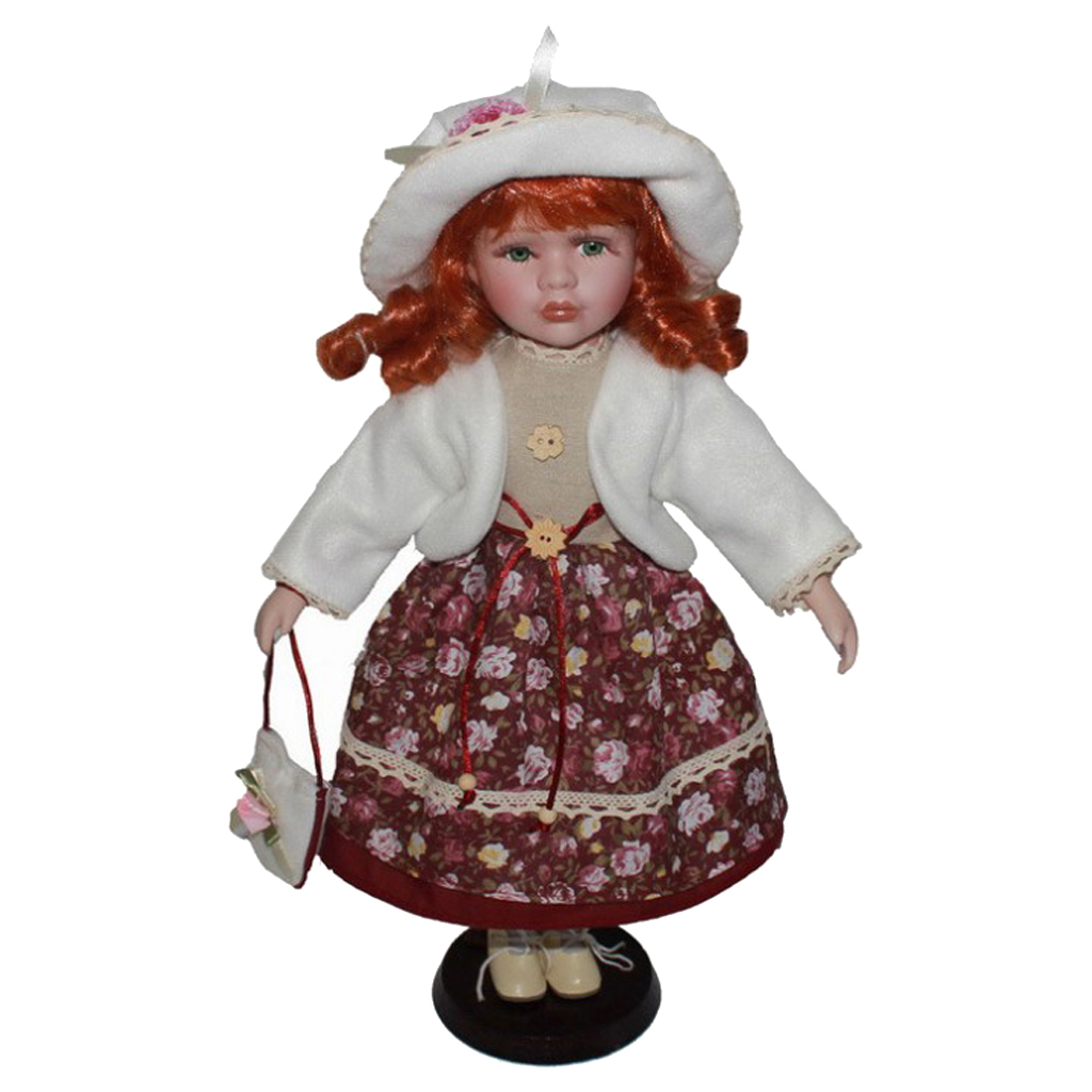 40cm Porcelain Victorian Doll Girl Figures With Adjustable Display Support Female Figures Collections Beautiful Figurines