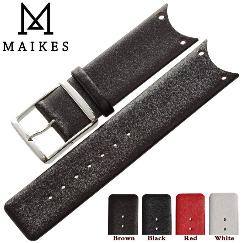 Prix pour MAIKES Véritable Veau Bracelet En Cuir Brun Montre Bande Cas Pour CK Calvin Klein KOH23101 KOH23307 Bracelets