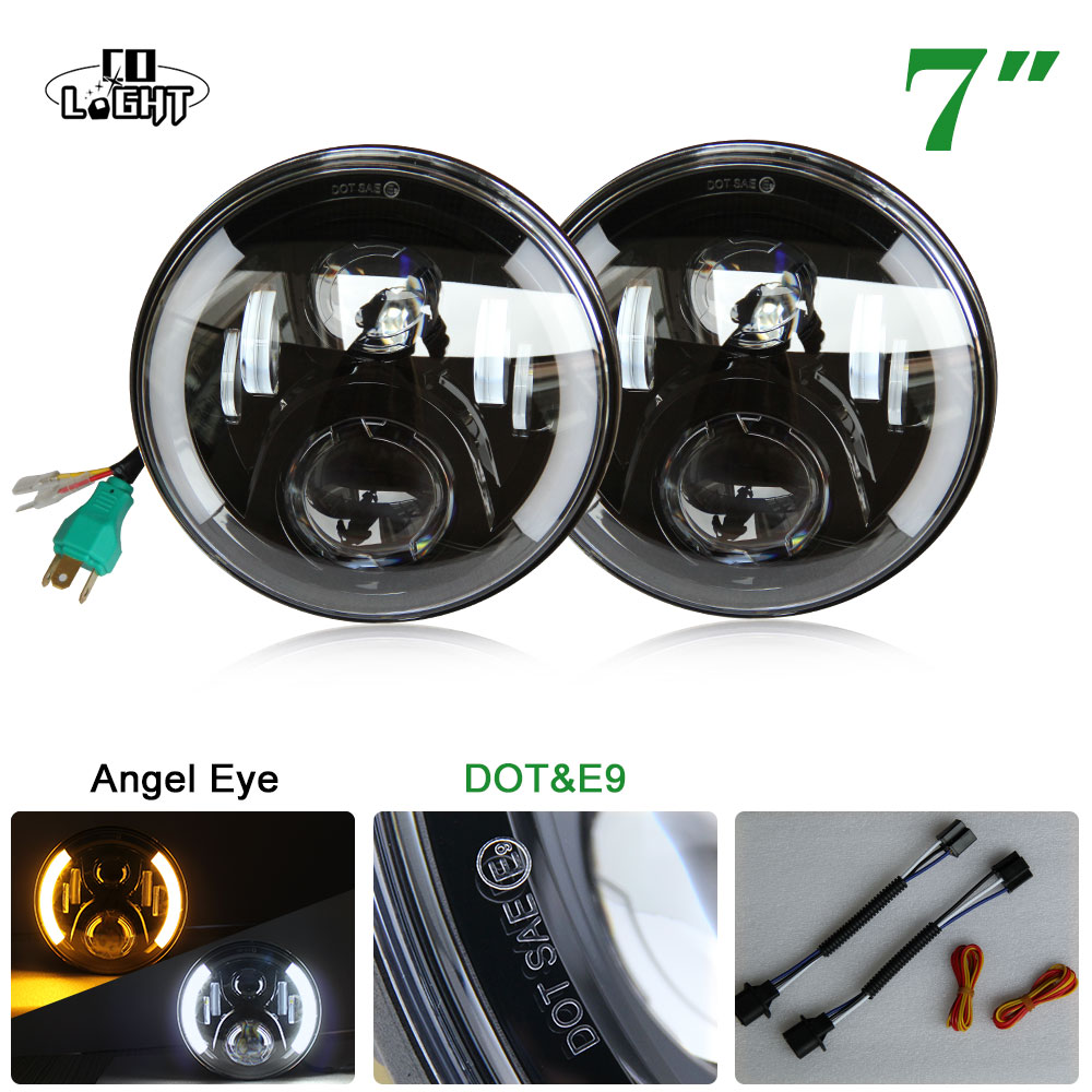 CO LIGHT 80W Led Headlights 1 Pair 7'' Round 50W 30W H4 High Low White/Yellow Angelic Eyes for Jeep Wrangler Jk Lada Niva 4X4 pro skit cp 3140 high low actuation punch down tool w 110 blades light orange yellow