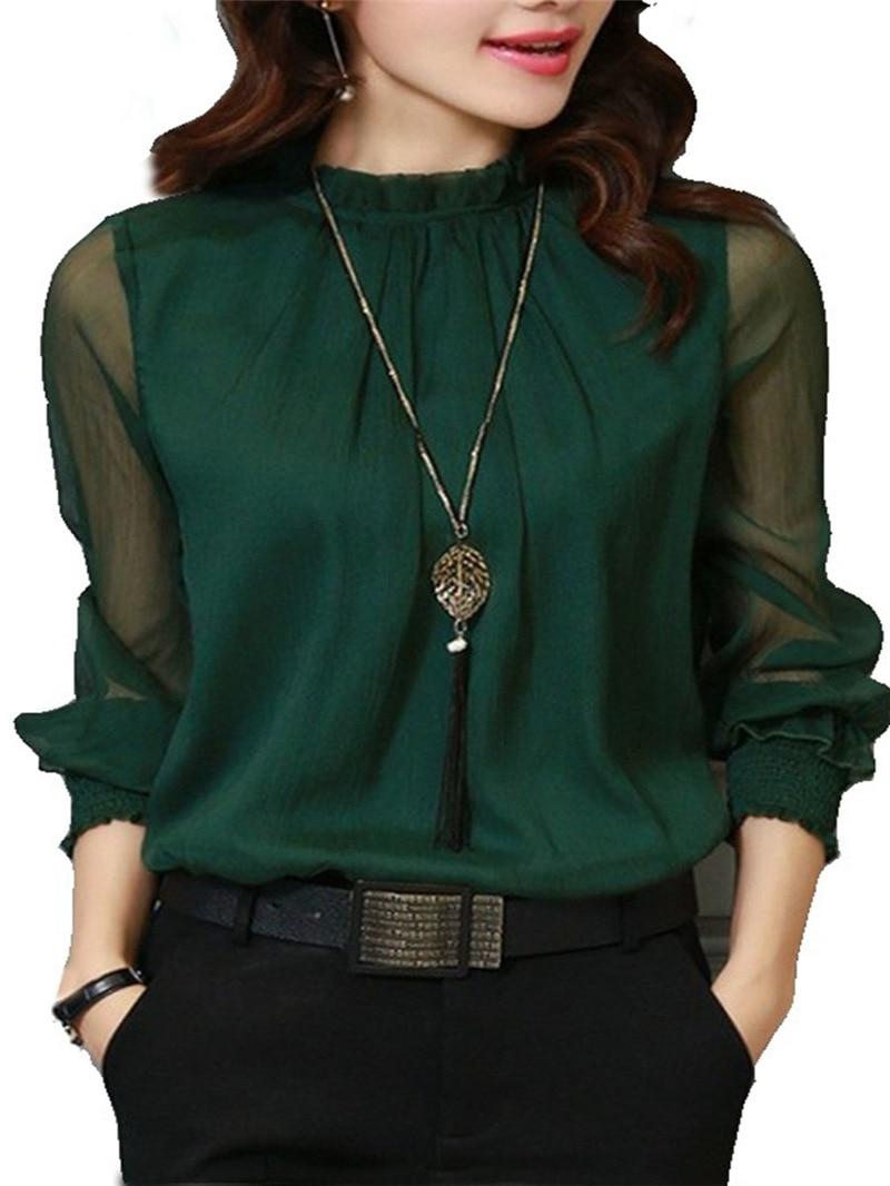Chiffon Blouse New Women Tops Long Sleeve Stand Neck Work Wear Shirts Elegant Lady Casual Blouses women's blusas Plus size 4
