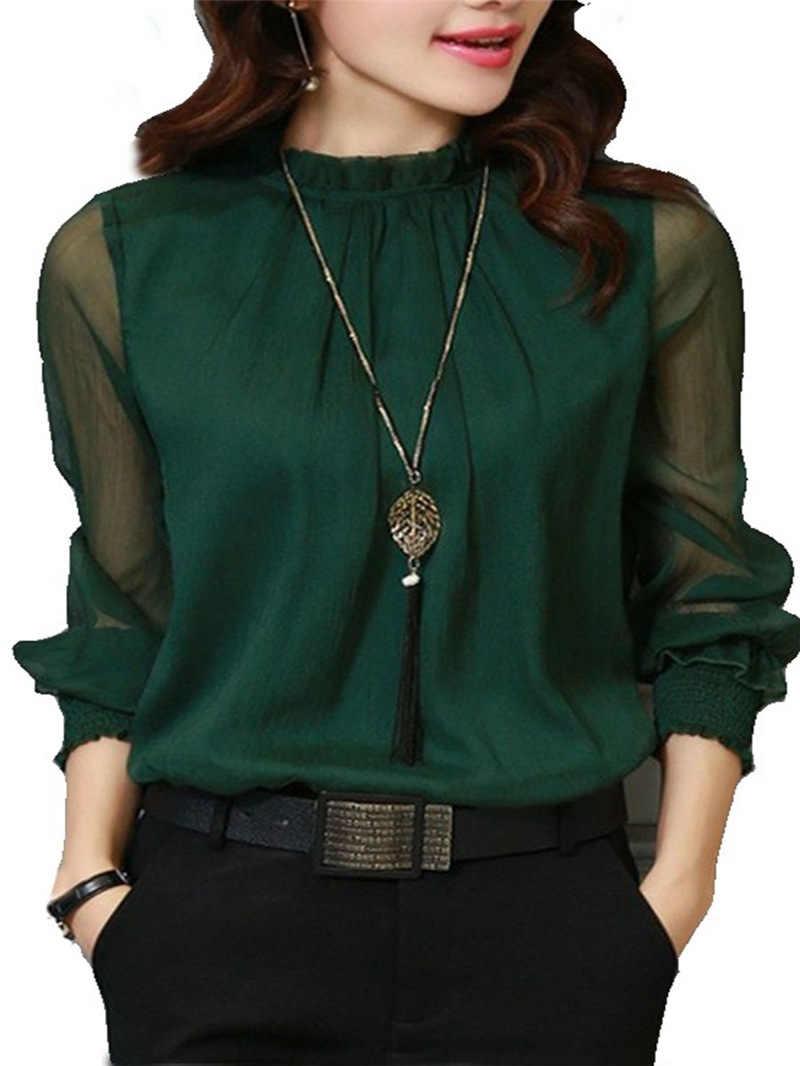เสื้อชีฟองเสื้อผู้หญิงใหม่เสื้อแขนยาวคอสวมเสื้อ Elegant Lady Casual เสื้อผู้หญิง blusas PLUS ขนาด