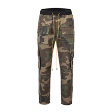 QoolXCWear Camouflage button drawstring Cargo Pants  Pocket Mens Casual Jogger Streetwear Hip Hop Trousers Male