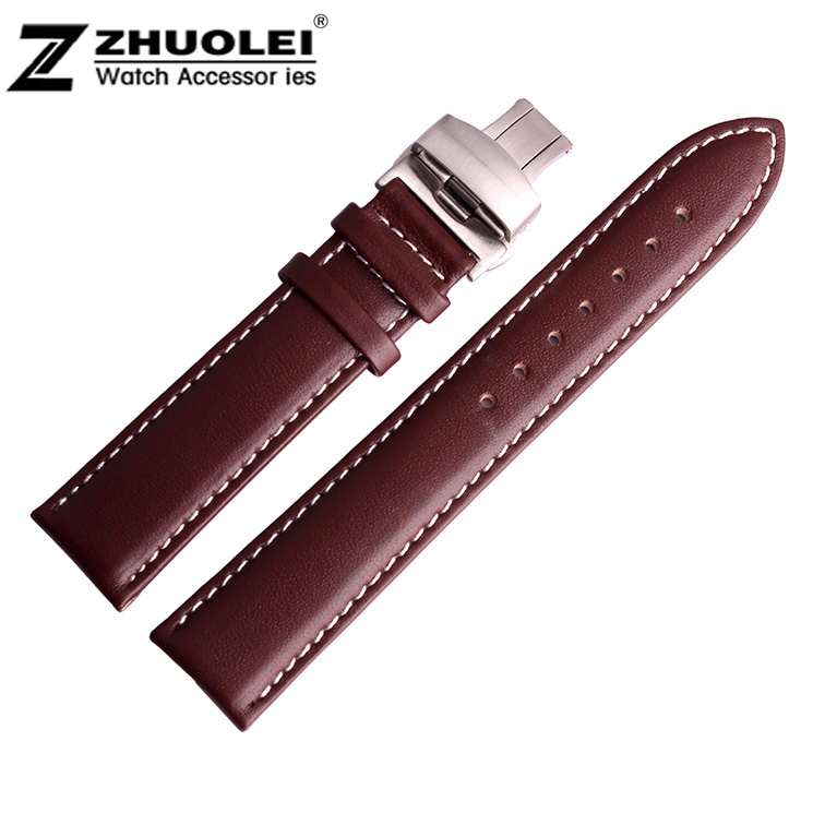 купить 18mm 19mm 20mm 21mm 22mm New Brown Smooth Genuine Leather Waterproof Watchband Strap Silver Brushed Stainless Steel Clasp Buckle по цене 815.97 рублей